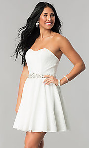 Short Strapless Lace Homecoming Dress with Rhinestone Waist