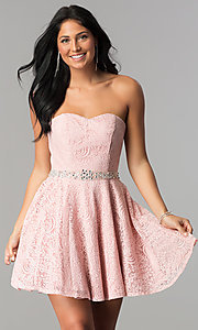 Strapless Lace Rhinestone-Waist Short Prom Dress