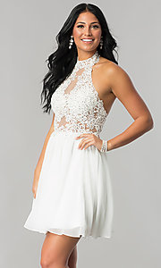 Short A-Line Homecoming Dress with Lace Applique