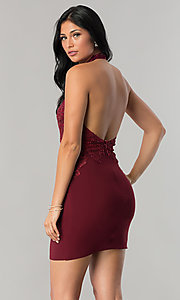 Image of halter short homecoming dress with illusion bodice. Style: NA-6309 Back Image