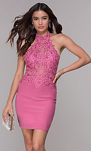 Image of halter short homecoming dress with illusion bodice. Style: NA-6309 Detail Image 3