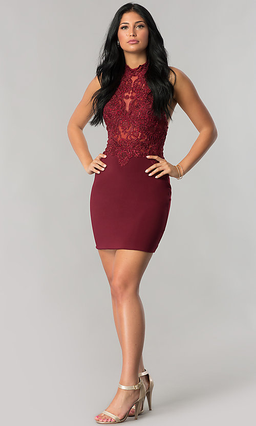 Image of halter short homecoming dress with illusion bodice. Style: NA-6309 Detail Image 1