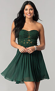 Lace Applique Strapless Sweetheart Homecoming Dress