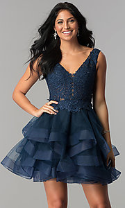 Short Tiered V-Neck Homecoming Dress