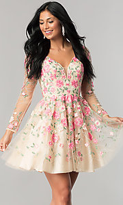 Long-Sleeve Embroidered Short Homecoming Dress