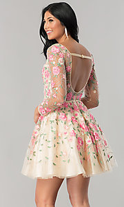 Image of long-sleeve embroidered short homecoming dress. Style: NA-6311 Back Image