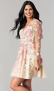 Image of long-sleeve embroidered short homecoming dress. Style: NA-6311 Detail Image 1