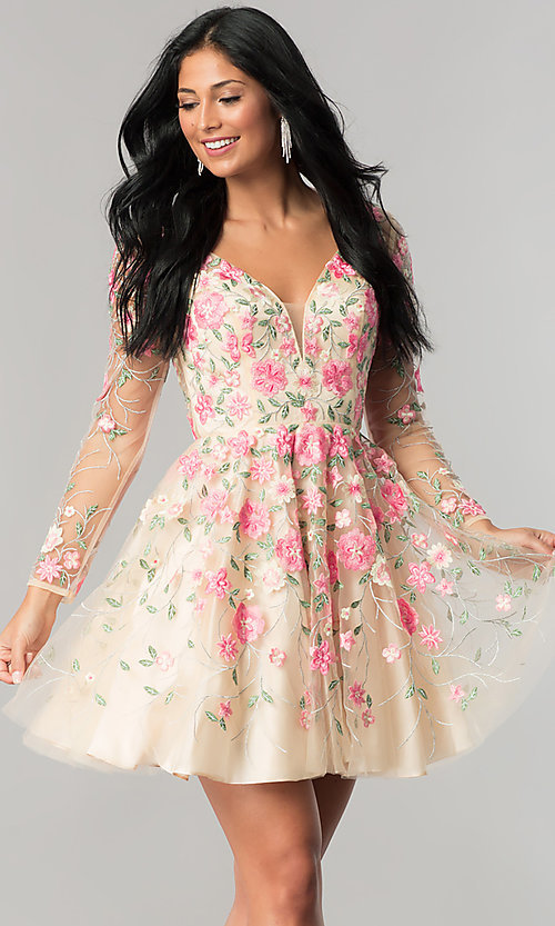 Image of long-sleeve embroidered short homecoming dress. Style: NA-6311 Front Image