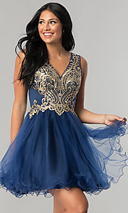 Short V-Neck Homecoming Dress with Lace Applique