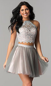 High-Neck Two-Piece Short HOCO Dress