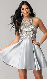 Image of short homecoming dress with embellished bodice. Style: NA-6328 Front Image