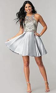 Image of short homecoming dress with embellished bodice. Style: NA-6328 Detail Image 2