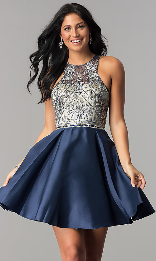 Image of short homecoming dress with embellished bodice. Style: NA-6328 Detail Image 3