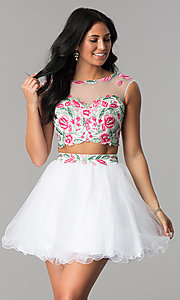 White Short Two-Piece Homecoming Dress
