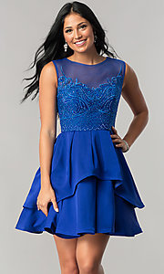 Short Homecoming Dress with High-Low Peplum