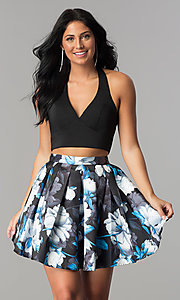 Two-Piece V-Neck Homecoming Print Dress