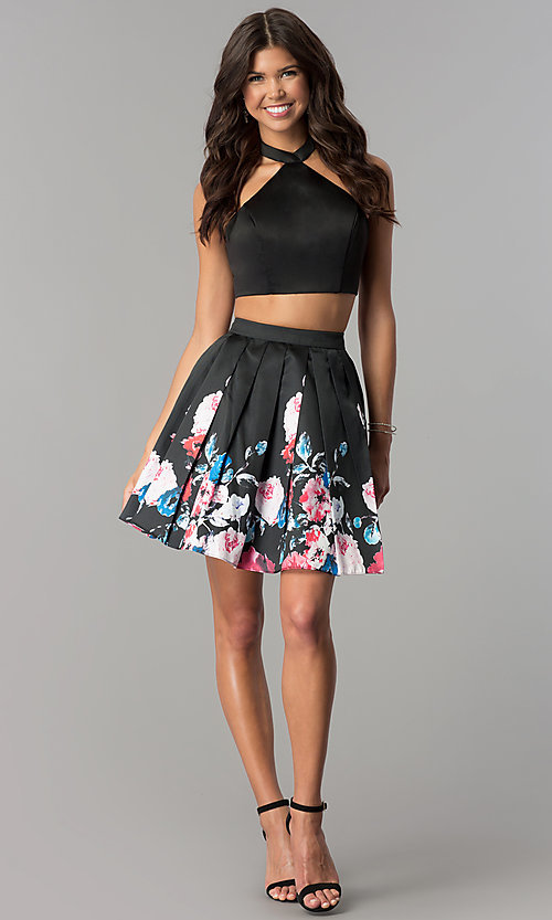 Image of two-piece short party dress with floral-print skirt. Style: NA-6287 Detail Image 2
