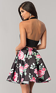 Image of two-piece halter-top hoco dress with print skirt. Style: NA-6227 Back Image