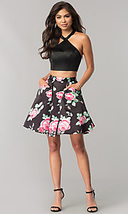 Image of two-piece halter-top hoco dress with print skirt. Style: NA-6227 Detail Image 1