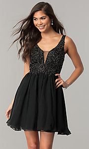 Image of short chiffon homecoming dress with beaded lace. Style: NA-6291 Front Image