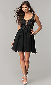 Image of short chiffon homecoming dress with beaded lace. Style: NA-6291 Detail Image 1