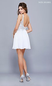 Image of short chiffon homecoming dress with beaded lace. Style: NA-6291 Detail Image 3