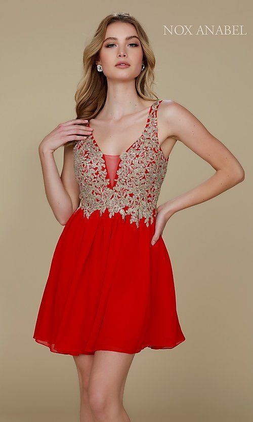 Image of short chiffon homecoming dress with beaded lace. Style: NA-6291 Detail Image 4