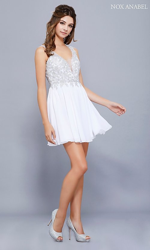 Image of short chiffon homecoming dress with beaded lace. Style: NA-6291 Detail Image 2