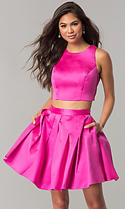 Two-Piece Homecoming Dress with Box Pleated Skirt