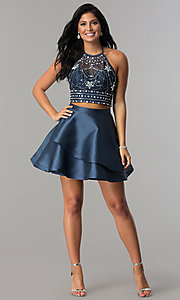 Image of navy short two-piece beaded halter homecoming dress. Style: BD-Q2XAL720 Detail Image 1