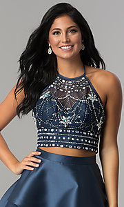 Image of navy short two-piece beaded halter homecoming dress. Style: BD-Q2XAL720 Detail Image 2
