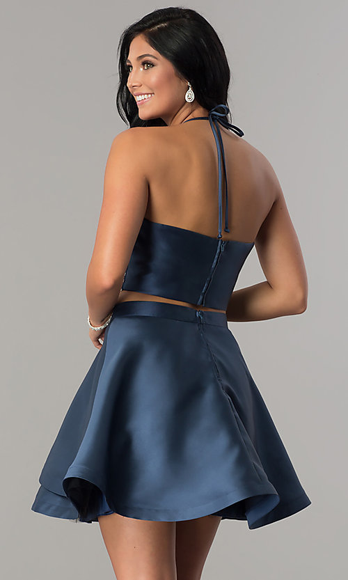 Image of navy short two-piece beaded halter homecoming dress. Style: BD-Q2XAL720 Back Image