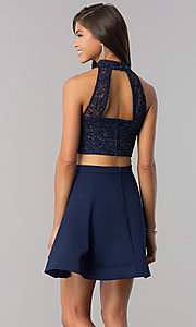 Image of two-piece navy homecoming dress with glitter lace. Style: BD-4XGL532 Back Image