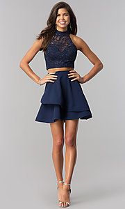 Image of two-piece navy homecoming dress with glitter lace. Style: BD-4XGL532 Detail Image 1