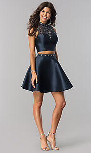 Image of two-piece satin homecoming dress in midnight blue. Style: BD-Q801L455 Detail Image 1