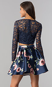 Image of sleeved lace-top two-piece blue homecoming dress. Style: BD-QD18L544 Back Image