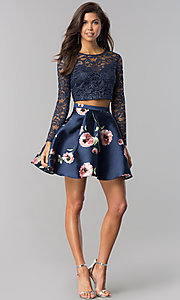 Image of sleeved lace-top two-piece blue homecoming dress. Style: BD-QD18L544 Detail Image 1
