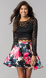 Lace Long-Sleeve Print-Skirt Short Homecoming Dress