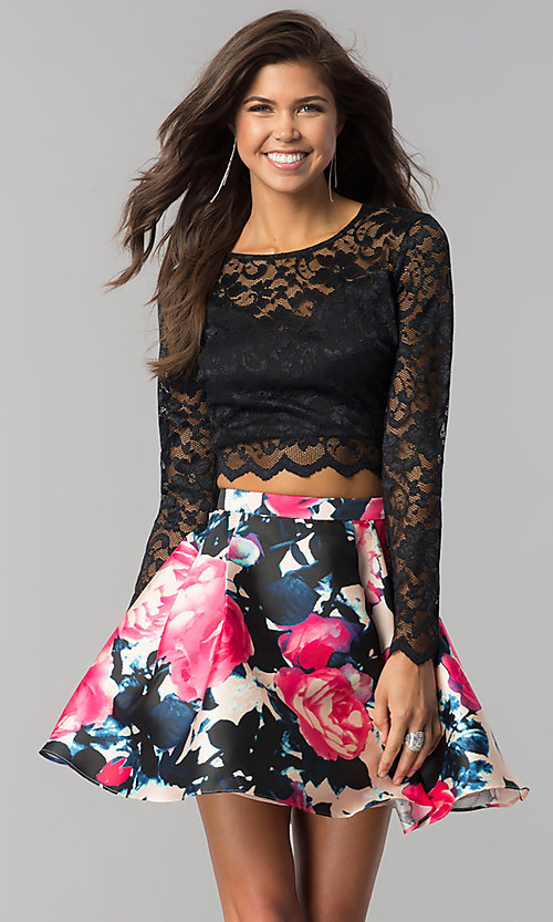 Image of lace long-sleeve print-skirt short homecoming dress. Style: BD-Q783J510 Front Image