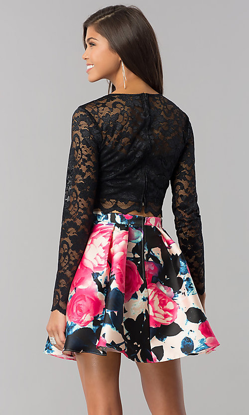Image of lace long-sleeve print-skirt short homecoming dress. Style: BD-Q783J510 Back Image
