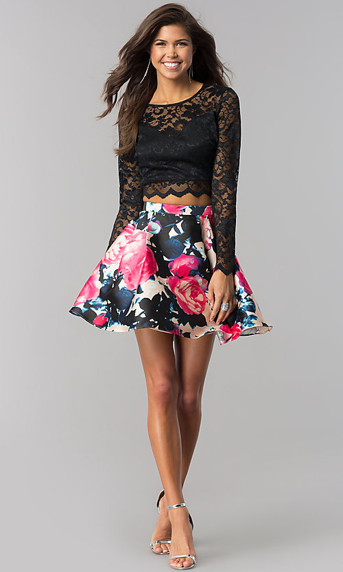 Image of lace long-sleeve print-skirt short homecoming dress. Style: BD-Q783J510 Detail Image 1