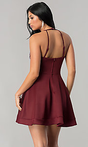 Image of short burgundy red homecoming dress with beading. Style: BD-Q7AAL449C Back Image