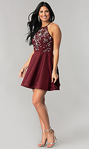Image of short burgundy red homecoming dress with beading. Style: BD-Q7AAL449C Detail Image 1
