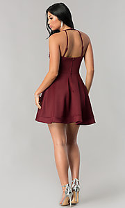 Image of short burgundy red homecoming dress with beading. Style: BD-Q7AAL449C Detail Image 2