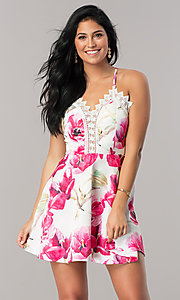 Image of white short party dress with pink floral print. Style: LUX-LD3916 Front Image