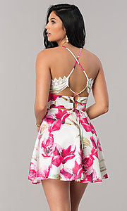 Image of white short party dress with pink floral print. Style: LUX-LD3916 Back Image