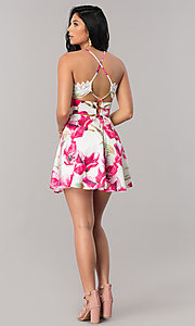 Image of white short party dress with pink floral print. Style: LUX-LD3916 Detail Image 2