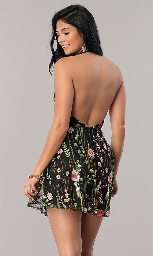 Image of short halter party dress with floral embroidery. Style: LUX-LD4087 Detail Image 2