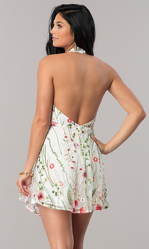 Image of short halter party dress with floral embroidery. Style: LUX-LD4087 Detail Image 3