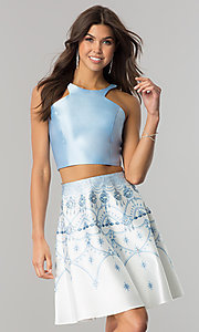 Two-Piece Homecoming Dress with Jeweled Print Skirt